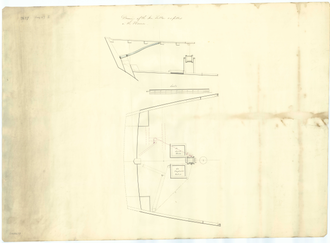 HMS Harrier (1831) - Plan showing a part stern elevation and plan illustrating the fitting of an iron tiller to Harrier