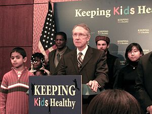 Harry Reid speaking at the State Children Heal...