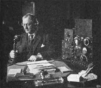 Harry Stewart New - Senator New broadcasting a radio speech on March 30, 1922.