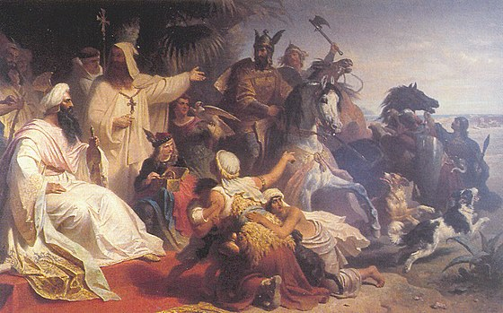 Harun al-Rashid receiving a delegation of Charlemagne in Baghdad, by Julius Kockert (1864) Harun-Charlemagne.jpg