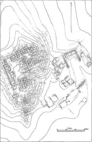 Hawikuh Ruins - Map of Hawikuh Ruins by Victor Mindeleff, 1891