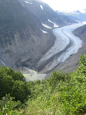 Premier, British Columbia - Image: Head of salmon river toe of salmon glacier