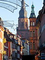 Heidelberg Hauptstraße, Turm Heiligeistkirche, Erker des Gebäudes der Architekten Jakob Henkenhaf und Friedrich Ebert.JPG