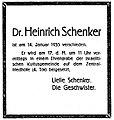 Heinrich Schenker (1868–1935) Todesanzeige.jpg