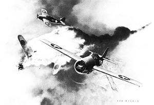 Joe Foss - Watercolor of U.S. Marine Captain Joe Foss shooting down a Zero over Guadalcanal in October 1942