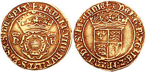 Crown (English coin) - HENRIC VIII RVTILANS ROSA SINE SPIA', crowned double rose flanked by crowned H and K (Henry and Katherine of Aragon); saltire stops