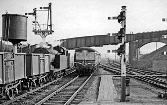 Hertford North railway station - View southwards from the Down platform in 1959