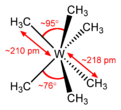 Stereo, skeletal formula of hexamethyltungsten with all implicit hydrogens shown, and assorted dimensions