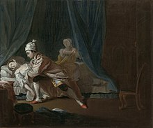Painting showing a woman fainting as a man attacks her. She is in the light at the far left of the painting and her blouse is undone, exposing much of her bosom. Much of the rest of the painting, particularly the curtains on the bed, is done in dark tones, such as black and dark green.