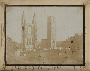 Hill & Adamson (Scottish, active 1843 - 1848) - St. Regulus Tower and the East Gable of St. Andrews from the Northwest. - Google Art Project