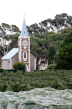 Moculta, South Australia - Gnadenberg Church and the Hill of Grace wineyard