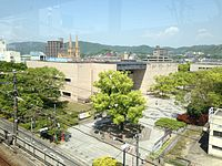 Hiroshima Prefectural Museum of History from platform of Fukuyama Station (Sanyo Shinkansen).JPG