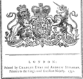 His Majesty's most gracious speech to both Houses of Parliament, On Thursday, January 21, 1790. Fleuron N028478-1.png