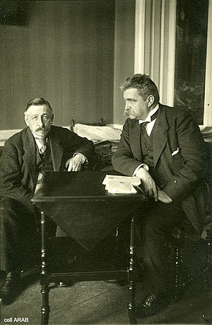 Pieter Jelles Troelstra - Swedish Social Democratic leader Hjalmar Branting (right) and Pieter Jelles Troelstra (left) during the 1917 Stockholm Peace Conference.