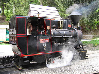 Historical Logging Switchback Railway in Vychylovka - Steam locomotive MÁV U34.901, currently in use by Historical Logging Back Swath Railway. Picture from May 2006