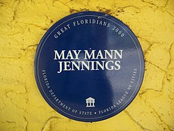 Photo of May Mann Jennings blue plaque
