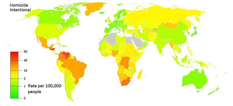 Homicide rates per 100000 people world, UNODC 2012.jpg
