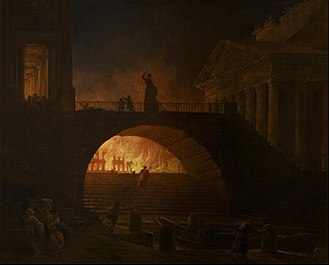 Nero - The Fire of Rome by Hubert Robert (1785)