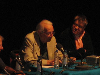 I'm Sorry I Haven't a Clue - Humphrey Lyttelton and producer Jon Naismith during a 2005 recording of I'm Sorry I Haven't a Clue at the Edinburgh Fringe.