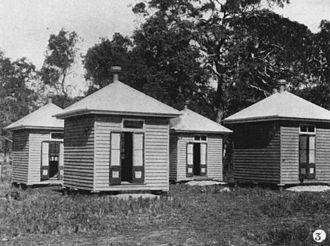 Peel Island - Huts constructed for patients on Peel Island, Moreton Bay, 1907