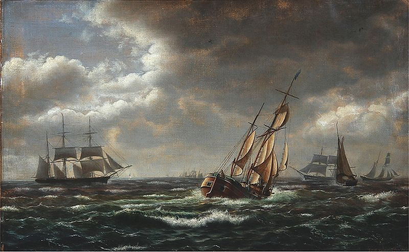 File:I. E. C. Rasmussen - Seascape with sailing ships in high waves (1863).jpg