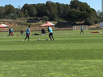Netherlands at the 2016 Summer Paralympics - Dutch players warm up for a game at IFCPF Pre Paralympic Tournament Salou 2016, the last major preparation event for the Rio Games.