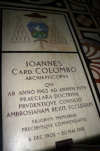 Ioannis cardinalis Colombo sepulchrum in Mediolani ecclesia cathedrali
