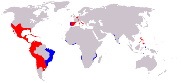 A map of the Spanish (red) and Portuguese Empires (blue) in the period of their personal union (1581–1640). Areas explored & claimed by the Spanish, but unsettled, (i.e. Amazon basin) are not shown. - Inter caetera