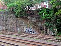 Inbound platform stairs at former Somerville Junction station site, July 2015.JPG