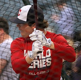 Indians outfielder Tyler Naquin takes batting practice before World Series Game 6. (30721266235).jpg