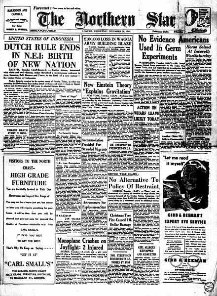 Australia's The Northern Star newspaper regarding the independence of Indonesia date 28 December 1949 Indonesian independence 27 december 1949 Dutch East Indies Independent Newspaper.jpg