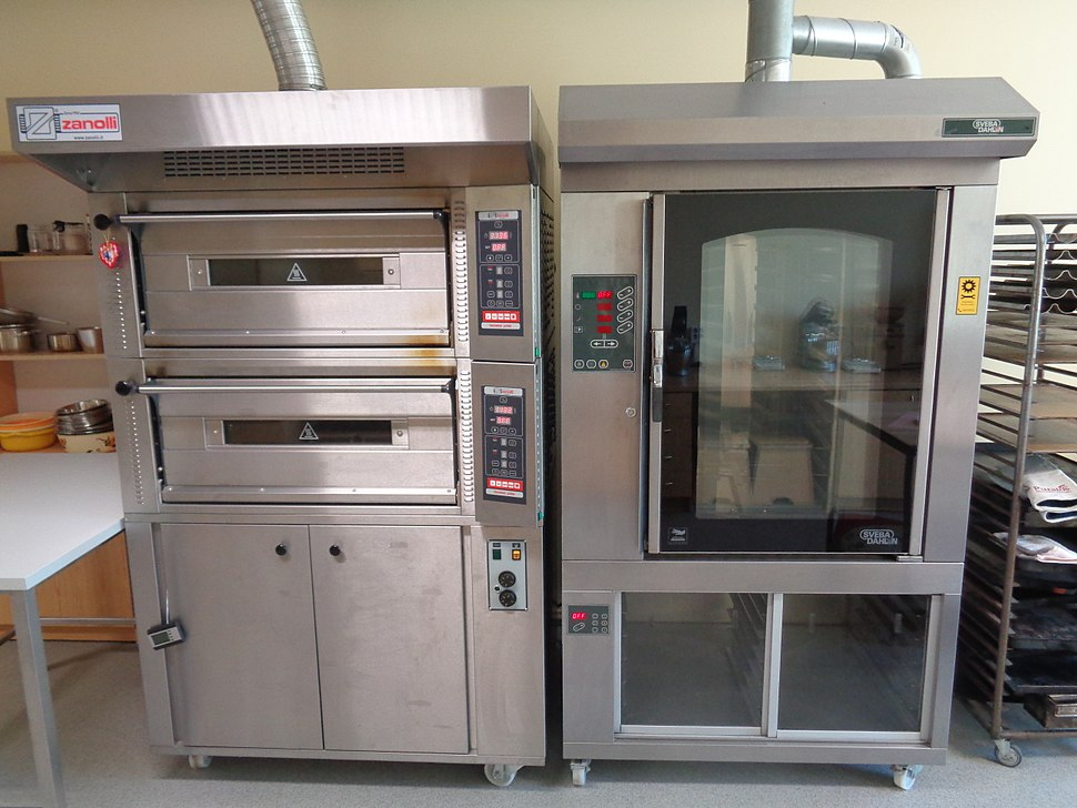 Industrial hearth deck oven and rotary rack oven