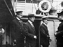 "Inspector Reid, H.H. Stevens and Capt. Walter J. Hose on board the ""Komagata Maru"".jpg"