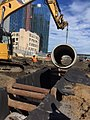 Installation of detention pipe in a newly excavated trench west of Queens Street. (CQ033, 10-10-2017) (37640240792).jpg