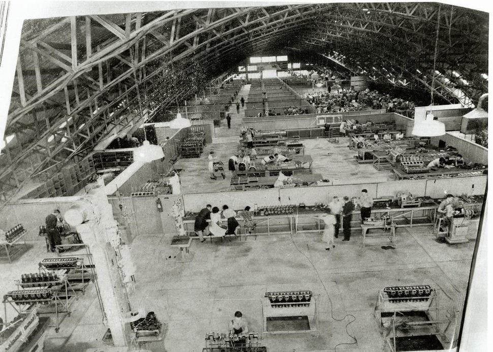 Interior view of GMH Allison Overhaul Assembly Plant igloo located on Sandgate Road Albion Brisbane during World War Two