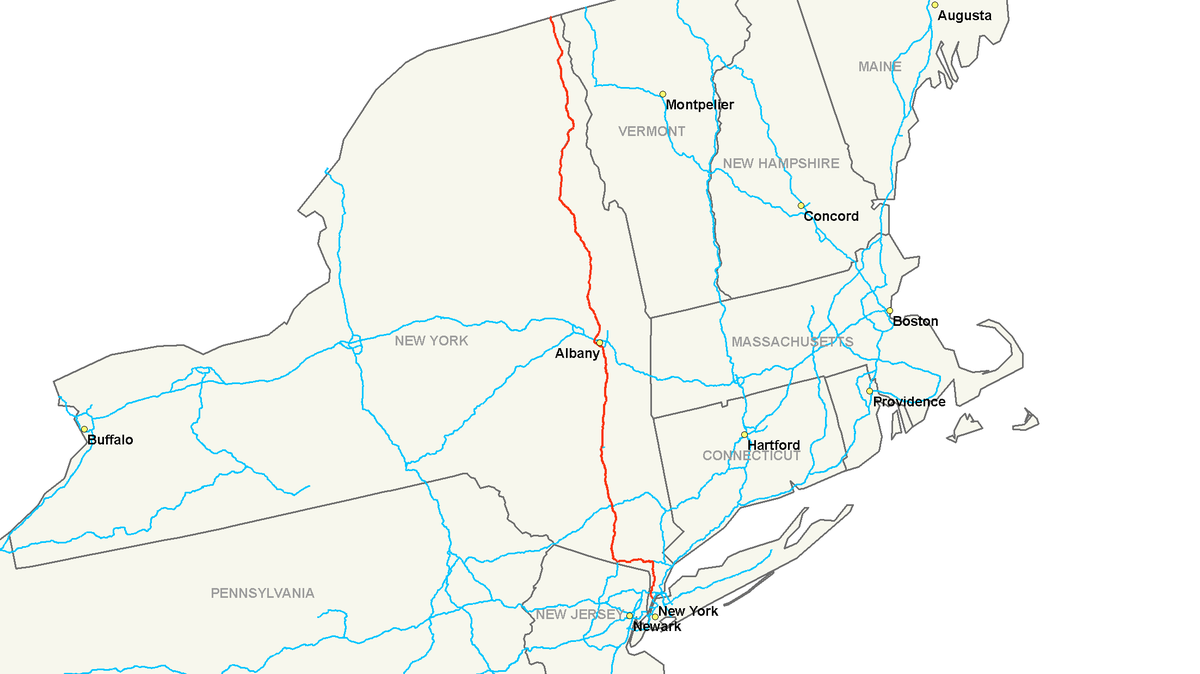Interstate  Wikipedia - Map of us 87