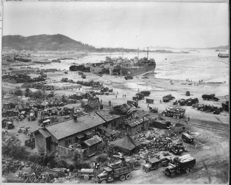 File:Invasion of Inchon, Korea. Four LST's unload men and equipment on beach. Three of the LST's shown are LST-611... - NARA - 520772.tif