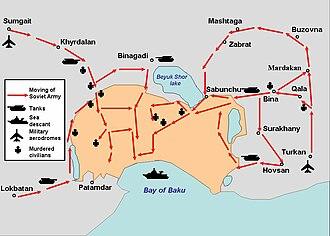 Black January - Maneuvers of the Soviet Army in Baku, 20 January 1990