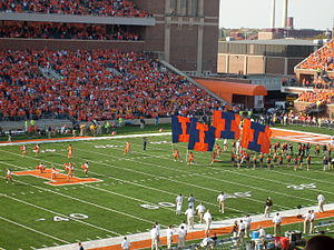Memorial Stadium (Champaign) - Memorial Stadium during Illinois' game against Iowa in 2008.