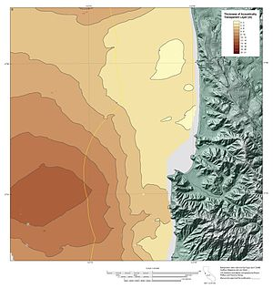 Isopach map - Isopach map showing true stratigraphic thickness of Holocene sediments deposited offshore of Pacifica, California