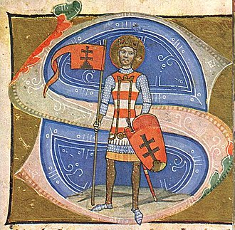 Surcoat - Saint Stephen, King of Hungary with a jupon bearing his arms, white and red stripes. Image from the Hungarian Illuminated Chronicle