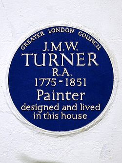 J.m.w. turner r.a. 1775 1851 painter designed and lived in this house