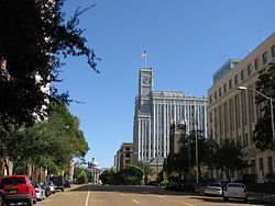 Downtown Jackson on East Capitol Street; the Lamar Life Building and the Old Capitol Museum can be seen in the distance.