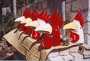 Haitian Carnival - Carnival masks made of papier-mâché being prepared in Jacmel, 2002.