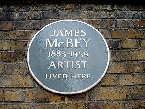 James McBey - Plaque at 1 Holland Park Avenue, London W11.