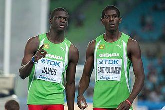 Rondell Bartholomew - Bartholomew (right) next to his countryman Kirani James at the 2011 World Championships in Athletics.