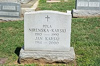 Jan Karski and Pola Nirenska section 40 - Mt Olivet - Washington DC - 2014.jpg