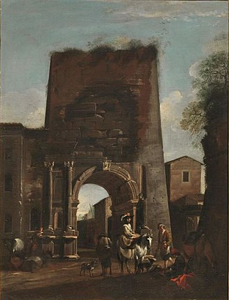 Viviano Codazzi - View of the Arch of Titus with horsemen at rest, figures by Jan Miel
