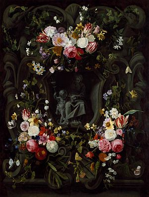 Jan Philip van Thielen - A Stone Cartouche with the Virgin and Child, Encircled by a Garland of Flowers