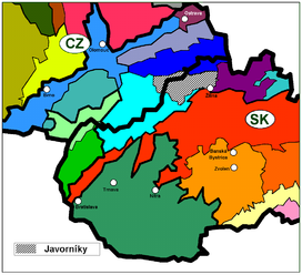 Javorníky within the geomorphological division of Slovakia and the Czech Republic